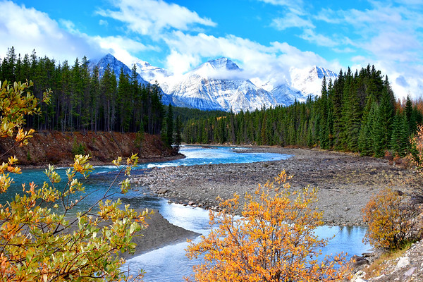 Meandering and colorful Bow River with mountains