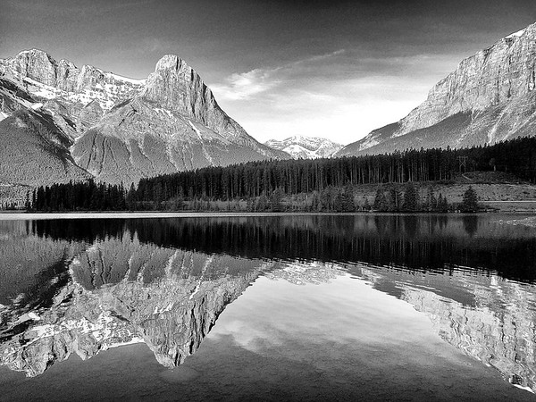 Mountain reflection in B&W