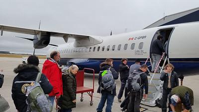 Boarding our Calm Air charter flight from Winnipeg to Churchill.