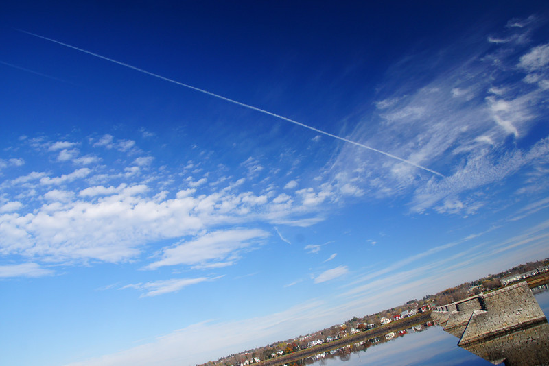"""Jet stream across the clear blue sky on a gorgeous fall day along the Saint John River - Fredericton, New Brunswick.  Travel photo from Fredericton, Canada. <a href=""""http://nomadicsamuel.com"""">http://nomadicsamuel.com</a>"""
