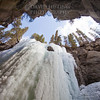 Looking up at frozen falls - horizontal