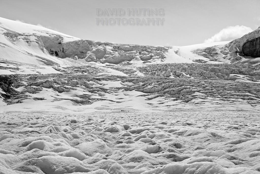 Exploring The Glacier B&W