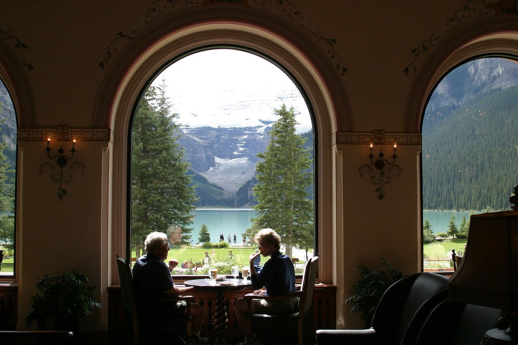 best seat in the house, Chateau Lake Louise view of the lake.
