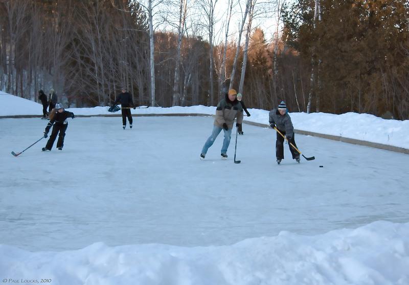 Racing down the ice.