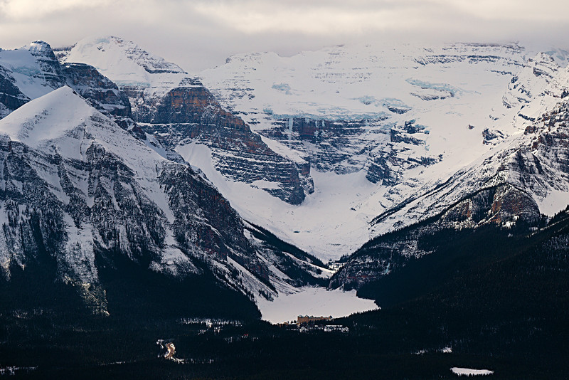 Chateau Lake Louise<br /> Lake Louise<br /> Banff National Park<br /> from Lake Louise Ski Area<br /> February 28, 2010