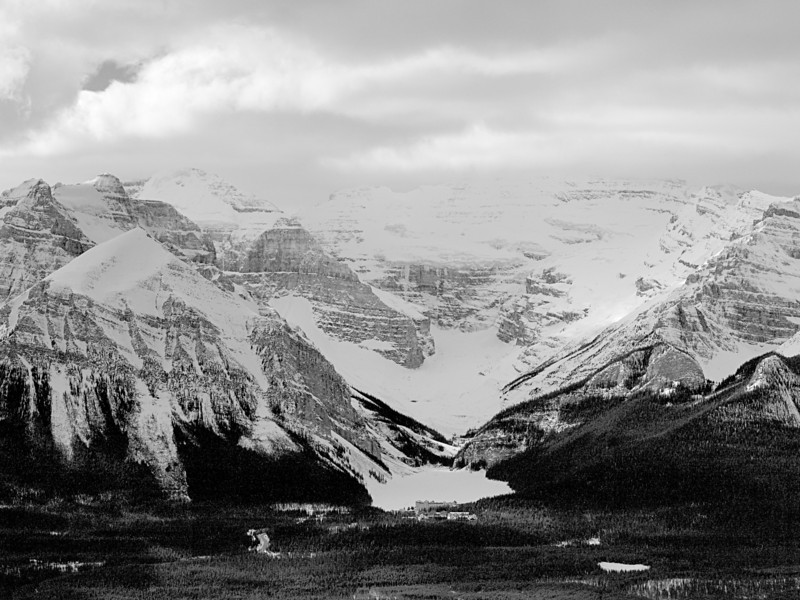 Black and White<br /> Chateau Lake Louise<br /> Lake Louise<br /> Banff National Park<br /> from Lake Louise Ski Area<br /> February 28, 2010