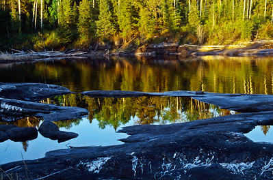 Bloodvein River.  Afternoon light next to Kakwachwanak Rapids.
