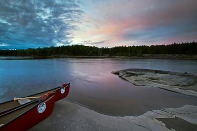 Bloodvein River.  Evening light at Kakeenomeeniapekak Rapids.