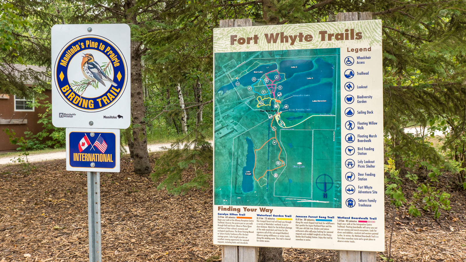 Fortwhyte Alive, Winnipeg. Welcome sign to the trails. Things to Do in Winnipeg: A Couples Getaway Guide