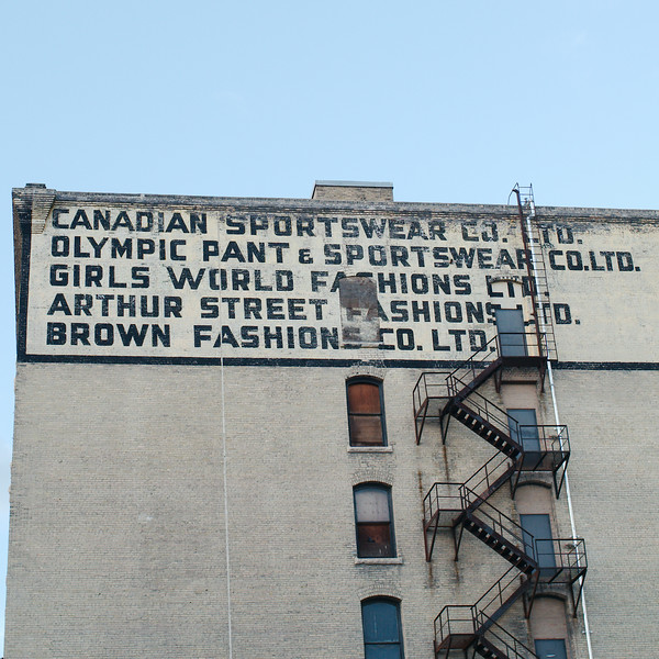 Old painted signs in the Exchange in Winnipeg