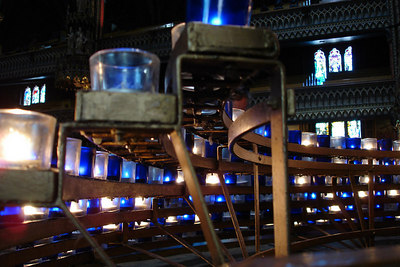 Candles inside the Basilique Notre Dame - Montreal, QC ... October 7, 2006 ... Photo by Emily Conger