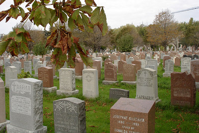 Tombs in the Cimetiere Notre-Dame-des-Neiges - Montreal, QC ... October 9, 2006 ... Photo by Emily Conger