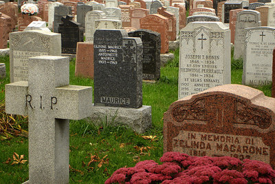 Tombs in the Cimetiere Notre-Dame-des-Neiges - Montreal, QC ... October 9, 2006 ... Photo by Rob Page III
