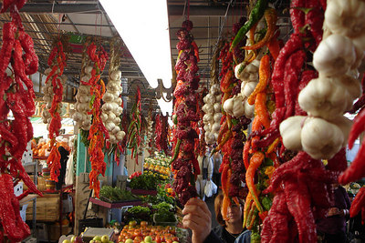 Vegetables and other goods hanging at the Marche Jean Talon - Montreal, QC ... October 8, 2006 ... Photo by Rob Page III