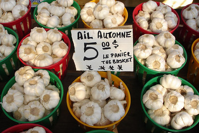 Baskets of Garlic at the Marche Jean Talon - Montreal, QC ... October 8, 2006 ... Photo by Rob Page III