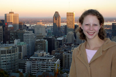 Emily on top of Mont Royal with Montreal in the background - Montreal, QC ... October 7, 2006 ... Photo by Rob Page III