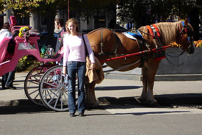 Emily is all pink with the pink horse-drawn carriage - Montreal, QC ... October 7, 2006 ... Photo by Rob Page III