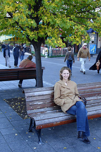 Emily taking a breather on one of the benches on Place Jacques Cartier - Montreal, QC ... October 7, 2006 ... Photo by Rob Page III