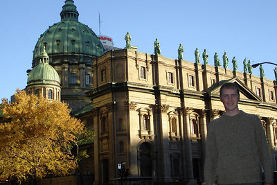 Rob in front of the Cathedrale Marie Reine Du Monde.  This is a scaled down replica of St. Peter's Basilica in Rome - Montreal, QC ... October 7, 2006 ... Photo by Emily Conger