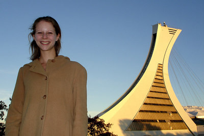 This is the Montreal Tower that lords over the Olympic Stadium with Emily in the foreground.  It is the tallest inclined structure in the world at 190 meters - Montreal, QC ... October 8, 2006 ... Photo by Rob Page III