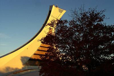 This is the Montreal Tower that lords over the Olympic Stadium.  It is the tallest inclined structure in the world at 190 meters - Montreal, QC ... October 8, 2006 ... Photo by Emily Conger