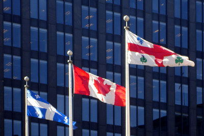 The flags of Montreal, Quebec, and Canada - Montreal, QC ... October 7, 2006 ... Photo by Rob Page III