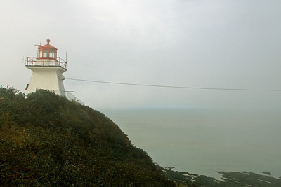 Cape Enrage Lighthouse on a foggy day