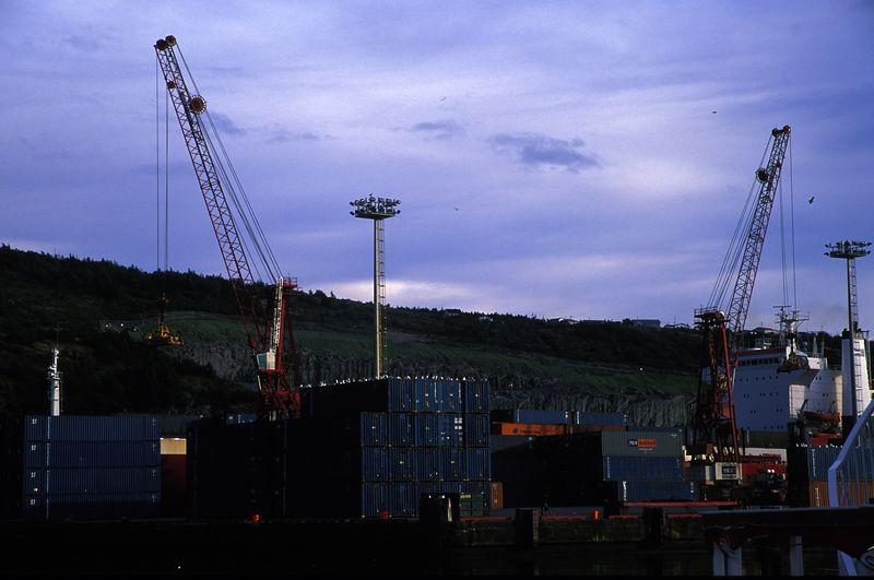 St John's Container Terminal<br /> It's a massive 17 acres and has the two cranes shown here.