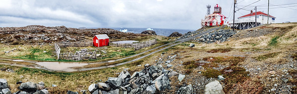 Little red house by the Cape Bonavista Lighthouse in Newfoundland.