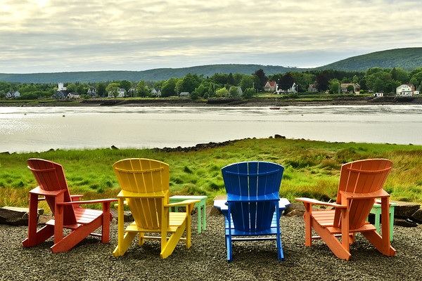 Four chairs and a gorgeous view of the river