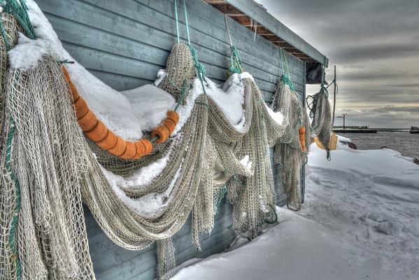 Fishing net on building