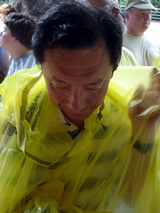 Papa still having trouble with his poncho - Niagara, NY ... June 13, 2005 ... Photo by Rob Page III
