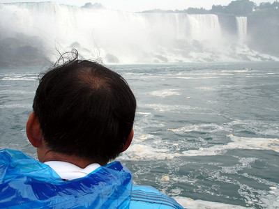 Papa Kato looking out at the American Falls - Niagara Falls, Canada ... June 12, 2005 ... Photo by Rob Page III