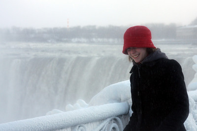 Emily enjoying the Niagara Falls' mist - Niagara Falls, ON ... December 22, 2008 ... Photo by Rob Page III
