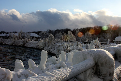 The frozen landscape near Niagara Falls with the lake effect clouds looming in the background - Niagara Falls, ON ... December 22, 2008 ... Photo by Rob Page III