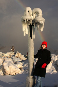Emily and her rainbow - Niagara Falls, ON ... December 22, 2008 ... Photo by Rob Page III