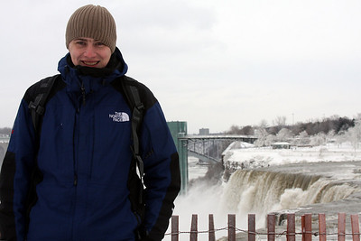 Rob and the American Falls - Niagara Falls, NY ... December 23, 2008 ... Photo by Emily Page