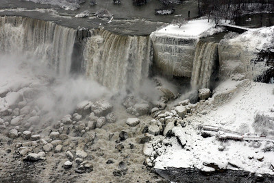 The American Falls and Bridal Veil Falls with Cave of the Winds below - Niagara Falls, ON ... December 23, 2008 ... Photo by Rob Page III