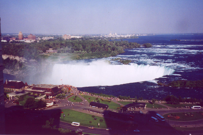 The magnifiscent view from our hotel window<br /> From our room on the 13th floor of the Radisson Fallsview on the Canadian side.   This is how we celebrated our 30th anniversary.<br /> <br /> To me this is just incredible. To see the city there and vast amounts of water flowing over what looks like the edge of the world--  it's like  a fantasy world, something not real. I could stand there for hours and watch in awe as the water flows over the edge.