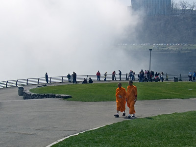 Tourists at Horseshoe Falls, Niagara Falls NY