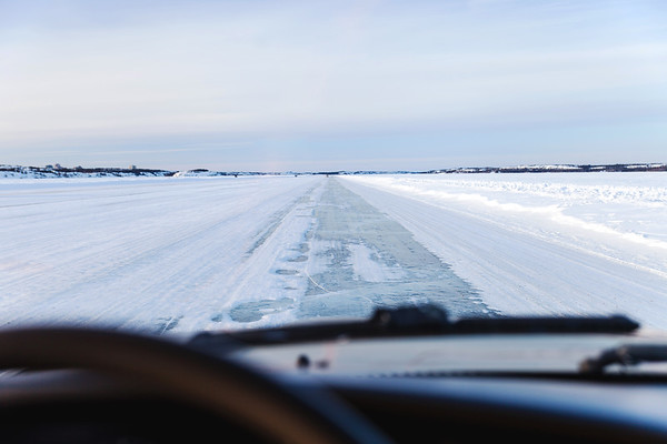 Driving on the ice road between Dettah and Yellowknife