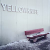 Bench at the Yellowknife airport / Banc à l'aéroport de Yellowkinfe
