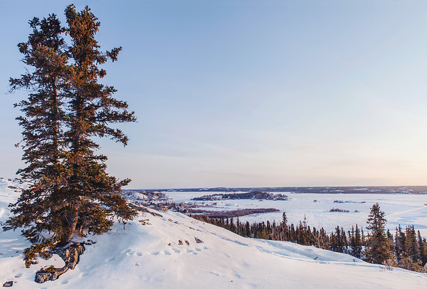 View on Yellowknife and Great Slave Lake at sunrise