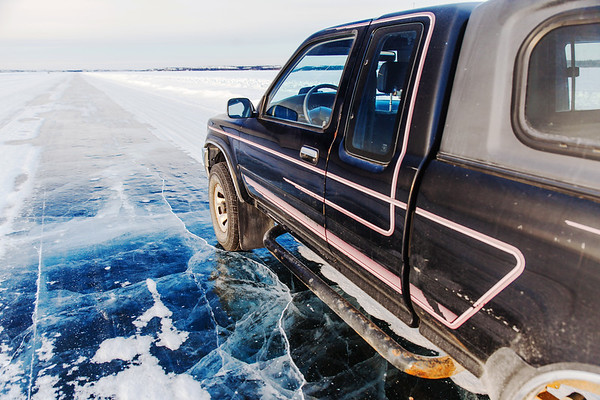 On the Dettah Ice Road close to Yellowknife