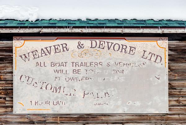 Weaver & Devore shop sign, Yellowknife