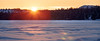 Yellowknife, Vee Lake - Sunset over distant snowy hill