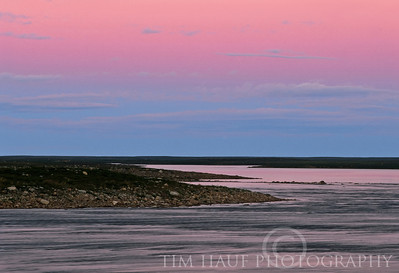 Evening light on the Thlewiaza River, about 113 km from Hudson Bay