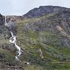 The frigid water of Schwartzenbach Falls