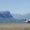 Plane landing in Pangnirtung, on Nunavut's shortest runway
