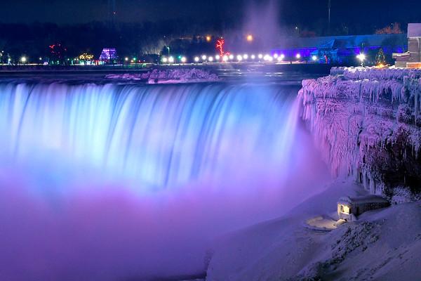 Niagara Falls in Ice and Blue at night